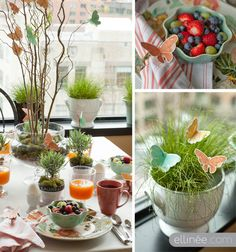 Butterfly Easter brunch - I love the centerpiece, the grass & the little herb pot place cards.