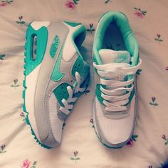 Mint Green and White Nikes