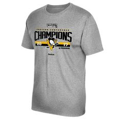 Men's Pittsburgh Penguins Reebok Heathered Gray 2017 Eastern Conference Champions Locker Room T-Shirt