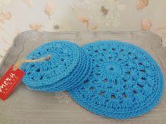 Handmade Round Crochet Blue Coaster Set by MeruHome