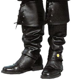"""Chris's boots.    """"The boots were thick-soled and made of shining black leather that reached all the way to his knee. A seven-inch cuff, laced and knotted in the front, folded back over the top. He stomped his heel down and took a few experimental steps. They were considerably heavier and more cumbersome than his sneakers. Depending on what her highness had in store for the day, he'd probably end up with a nice crop of blisters.""""    http://kmweiland.com/books_D.php"""