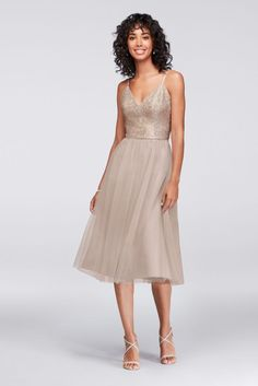 afc8c0d018d Metallic Lace and Tulle Short Bridesmaid Dress - Gold Metallic