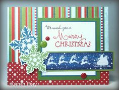 Hand stamped card byKaren Day using the Glad Tidings and Merry & Bright sets from Verve. #vervestamps