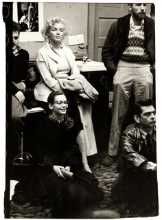 1955, Marilyn Monroe watching the proceedings of a class at Lee Strasberg's Actor's Studio.