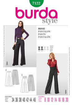 high waisted wide leg pants pattern - Pi Pants