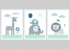 ** Kids Poster Jungle Animals Set 3 mint gray ** DIN x 297 mm) Quality print on sturdy art print paper / sqm ** The children's room pictures are without passepartout and frame … - Diy Crafts Jungle Animals, Baby Animals, Baby Room Pictures, Baby Bikini, Baby Frame, Baby Zimmer, Cool Curtains, Bedroom Murals, Kids Poster