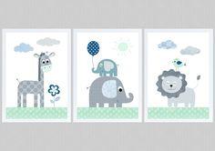 Bilder - Kinderbilder SET 3 - Dschungeltiere A4 mint grau - ein Designerstück von Pingelline-Design bei DaWanda