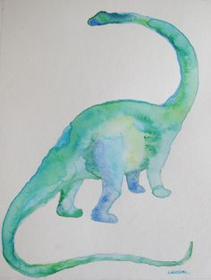 Dinosaur watercolor painting original by FascinationGallery, $30.00