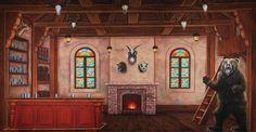 Gaston's Hunting Lodge Scenic Backdrop | TheatreWorld