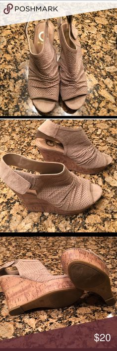 Wedge Sandals.  GUESS Wedge GUESS sandals.  Size 8.5.  Bought on posh and my foot is too fat.   These are super stylish and in great condition. G by Guess Shoes Sandals