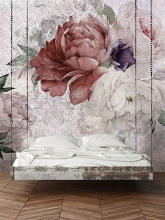 Floral Wallpaper, Temporary Wallpaper, Loft design,Removable wallpaper, Mural Wallpaper Bloom Wallpaper Textured Vinyl Wallpaper on by WonderWallstore