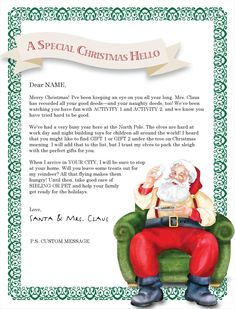 Letter From Santa Template Word    Photographer Davidson Nc A