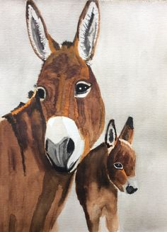 Donkeys  Watercolor painting  Size 24x30