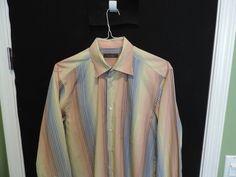 Zegna Designer Multi Color Striped L/S 100% Cotton Mens Casual Shirt SZ L Mint  #ErmenegildoZegna #ButtonFront