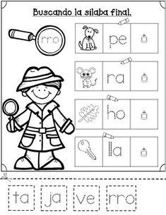 Silabas Iniciales, Mediales, y Finales Hojas. by Bilingual Teacher World Pre K Activities, First Grade Activities, Spanish Activities, Letter Activities, Teaching Activities, Spanish Worksheets, Bilingual Centers, Bilingual Kindergarten, Bilingual Education