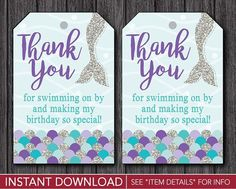 Mermaid Birthday Favor Tags   Mermaid Thank You Party Favor Tags   Printable Digital File   INSTANT DOWNLOAD by PuggyPrints