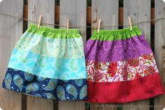 101 Clever Sewing Projects To Upcycle Fabric Scraps Little Girl Skirts, Skirts For Kids, Tshirt Dress Pattern, Girls Skirt Patterns, Diy Maxi Skirt, Circle Skirt Tutorial, Reversible Skirt, Handmade Skirts, Cute Skirts