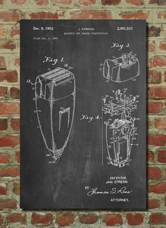 Remington Electric Shaver Patent Poster, Bathroom Wall Art, Vintage Razor, Barber Shop Decor,