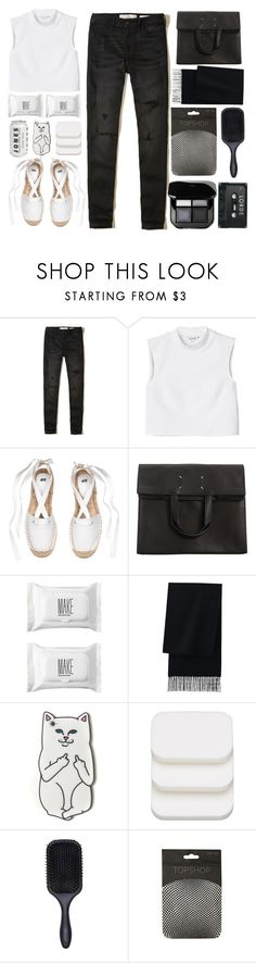 """""""Black&White"""" by just-a-girl-with-thoughts ❤ liked on Polyvore featuring Hollister Co., Monki, Maison Margiela, Make, Uniqlo, RIPNDIP, COVERGIRL and Denman"""