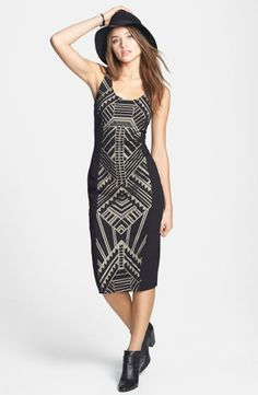 Sweet, Graphic Print Midi Dress