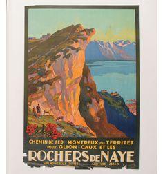 J. E. Mueller 1927 Rochers de Naye Travel Poster