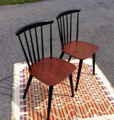 Pair of Farstrup Mobler 226 Spindle chairs by MadModWorldVintage