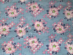 Vintage Cotton Feedsack Fabric Quilting Sewing Blue Pink Floral 24 x 18