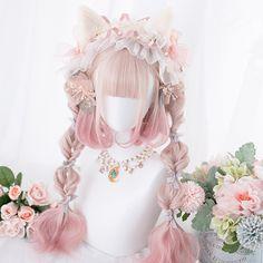 Lolita gradient wig   tiger mouth clip YC21892 Pelo Lolita, Lolita Hair, Estilo Lolita, Lolita Makeup, Kawaii Hairstyles, Pretty Hairstyles, Wig Hairstyles, Anime Wigs, Anime Hair