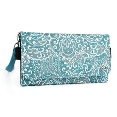 Fashion wallet case (Bohemian Blue) multi purpose organizer ( ID holder, coin purse, phone pocket) fits: OnePlus 2 and Kyocera Hydro Air -- See this awesome image  : Travel cosmetic bag