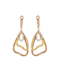 Luca Carati 18k Gold Drop Earrings w/ White, Yellow & Brown Diamonds