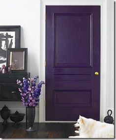 Paint the front door [inside & out] this wonderful deep plum color.  (BTW I had this idea years ago -- gray house, purple door, my dream)