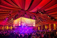 Manchester lighting specialist dbn supplied rigging, lighting equipment and design plus bespoke draping for the Co-Operative Retail Trading Group (CRTG) annual Supporters Awards and gala dinner event