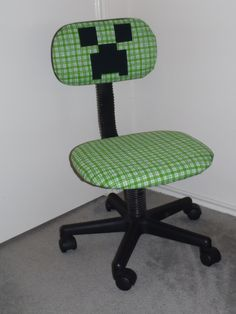 Desk chair re-covered to make a Minecraft Creeper. Made my Minecraft lover one happy kid. :-)