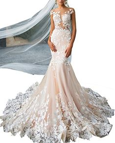 Changjie Womens Illusion Neckline Wedding Dresses Lace Mermaid Bridal Gown with Detachable Train