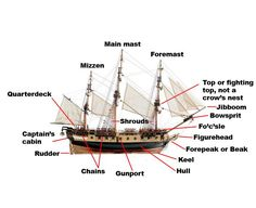 In this article about ship design, learn what are the parts of a sailing ship and what are the functions of each of these parts. Sailing has to be fun but that can only be so, if good components are used with the best possible materials. Witch Of Blackbird Pond, Ship Mast, Master And Commander, Ship Names, Pirate Life, Boat Plans, Wooden Boats, Tall Ships, Model Ships