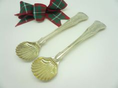 Pair Antique Silver Salt Spoons HEAVY Hallmarked 1814 Eley & Fearn