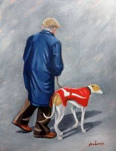 Old Man and Greyhound by Steve Sanderson Greyhound Kunst, Lurcher, Painting People, Pastel, Sculpture, Dog Art, Beautiful Dogs, Mans Best Friend, Art Images