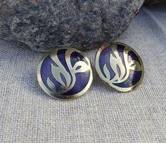 Vintage Large Round Metal Enamel Cobalt Blue Gold Pierced Post Earrings  #unknown #Pierced