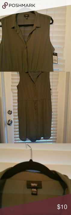 Mossimo olive green button down dress Never worn! New with tags! Great dress for spring or summer. Buttons all the way down with a tied waist. Mossimo Supply Co Dresses Midi