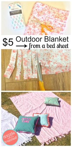 DIY outdoor movie night or picnic blanket from a flat bed sheet. Easy DIY craft project for outdoor summertime fun. via @https://www.pinterest.com/dazzlefrazzled/