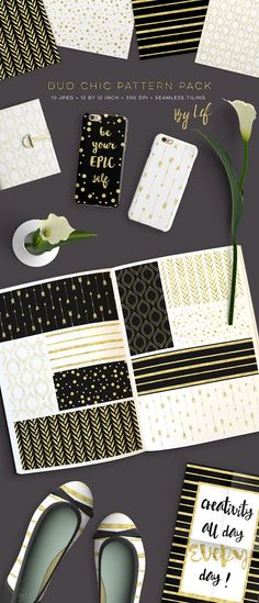Digital Paper Pack Black White Gold  by By Lef on @creativemarket