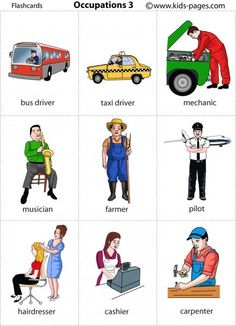 Kids Pages - Occupations 3 (can be used as memory cards) English Teaching Materials, Learning English For Kids, English Lessons For Kids, Kids English, English Language Learning, Learn English Words, English Study, Teaching English, Kids Learning