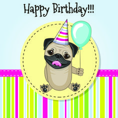Greeting card Cute dog with balloon and bonnet Happy Birthday Pug, Happy Birthday Flower, Birthday Cheers, Happy Birthday Pictures, Happy Birthday Messages, Happy Birthday Quotes, Sister Birthday, Birthday Images, Birthday Greetings