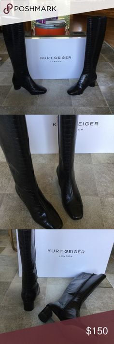 NIB Kurt Geiger Dita Croc Embossed Zip Up Boot, 37 Few styles are as effortlessly elegant as the simple black knee boot. Dita from Kurt Geiger London follows a traditional silhouette with soft black uppers, all set on a manageable 50mm heel for day-long comfort. Gucci Shoes Heeled Boots