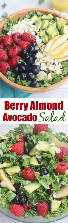 Berry Almond Avocado Salad with a light honey lime poppyseed dressing.   Tastes Better From Scratch
