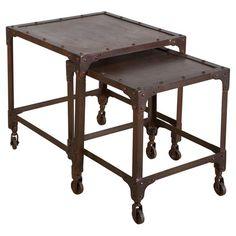 Found it at Wayfair - Iron 2 Piece Nesting Table Set in Dark Brown