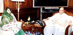 Chief Minister Mehbooba Mufti in a meeting with Union Home Minister  Rajnath Singh in New Delhi.(UNI)