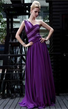 Purple A-line Floor-length One Shoulder Dress [Dresses 10143] - $235.00 :