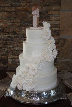 Traditional Wedding cake. I.like the idea of a willow tree as the topper