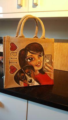 Drews jutes bespoke personalised bag hand painted